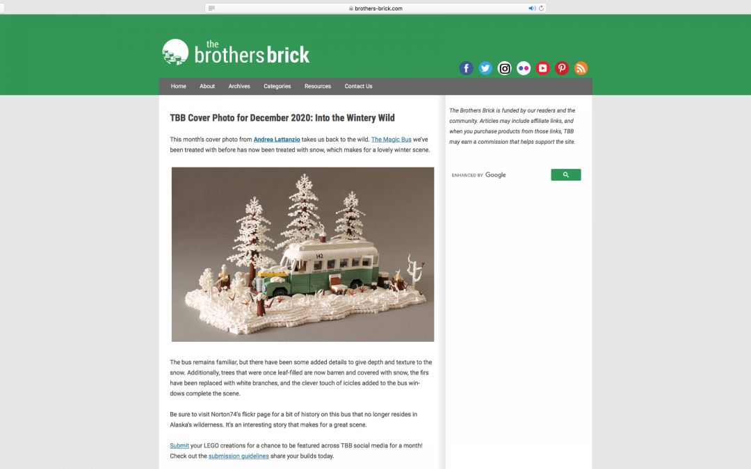 The snowy Magic Bus is The Brothers Brick cover photo for December 2020!